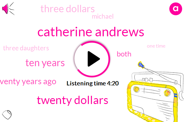 Catherine Andrews,Twenty Dollars,Ten Years,SIX,Seventy Years Ago,Eight,Both,Three Dollars,Michael,Three Daughters,One Time,Forty Five Minutes Later,ONE