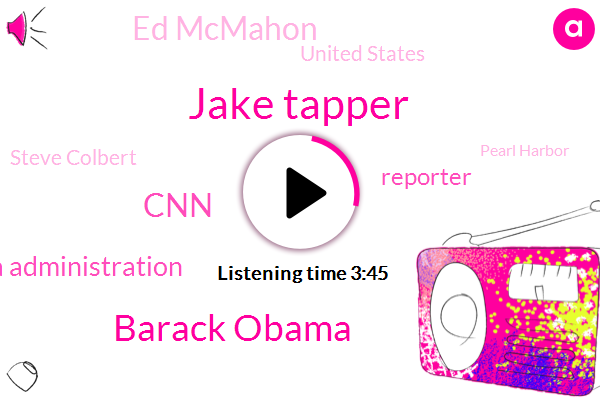 Jake Tapper,Barack Obama,CNN,Obama Administration,Reporter,Ed Mcmahon,United States,Steve Colbert,Pearl Harbor,Department Of Justice,FBI,National Security,CIA,Russia