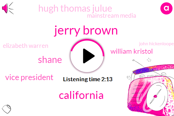 Jerry Brown,California,Shane,Vice President,William Kristol,Hugh Thomas Julue,Mainstream Media,Elizabeth Warren,John Hickenlooper,Joe Biden,FOX,Chris Hans,Lupus,Oprah