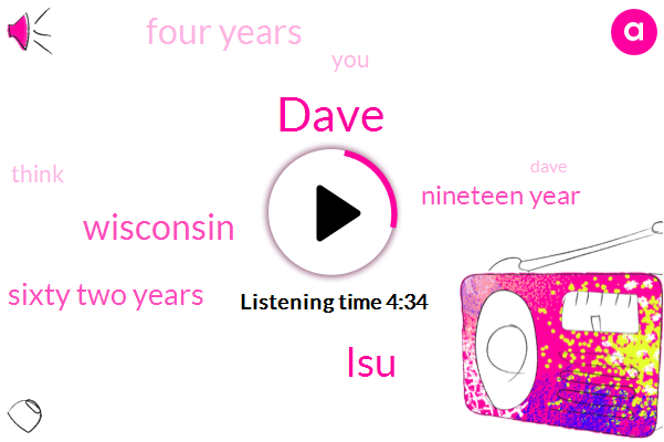 Dave,LSU,Wisconsin,Sixty Two Years,Nineteen Year,Four Years