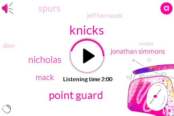 Knicks,Point Guard,Nicholas,Mack,Jonathan Simmons,Spurs,Jeff Hornacek,Dion,Rondos,Frank