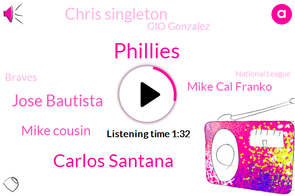 Carlos Santana,Phillies,Jose Bautista,Mike Cousin,Mike Cal Franko,Chris Singleton,Gio Gonzalez,Braves,National League,Defoe,Mets,Gonzales,Philadelphia,Thirty Seven Year