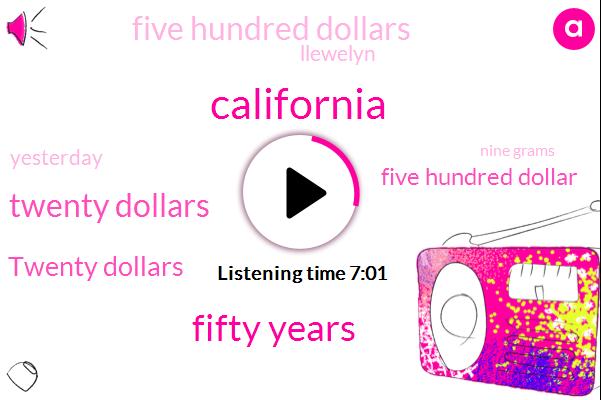 California,Fifty Years,Twenty Dollars,Five Hundred Dollar,Five Hundred Dollars,Llewelyn,Yesterday,Nine Grams,Bolivia,Tonight,Henry,Luke,John Eight,Both,Three Years Ago,Ten Year,Today,This Afternoon
