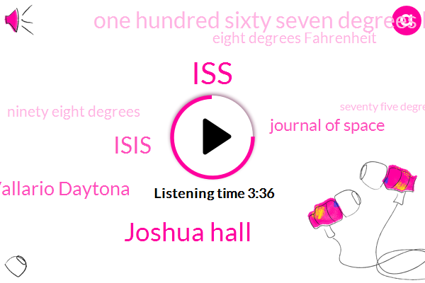 ISS,Joshua Hall,Isis,Vallario Daytona,Journal Of Space,One Hundred Sixty Seven Degrees Fahrenheit,Eight Degrees Fahrenheit,Ninety Eight Degrees,Seventy Five Degrees,Zero G