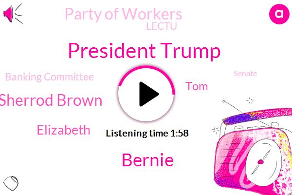 President Trump,Bernie,Sherrod Brown,Party Of Workers,Lectu,Elizabeth,Vice President,Senator,TOM,Banking Committee,Senate