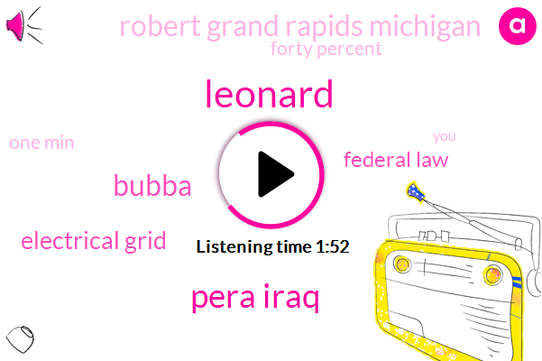 Leonard,Pera Iraq,Bubba,Electrical Grid,Federal Law,Robert Grand Rapids Michigan,Forty Percent,One Min
