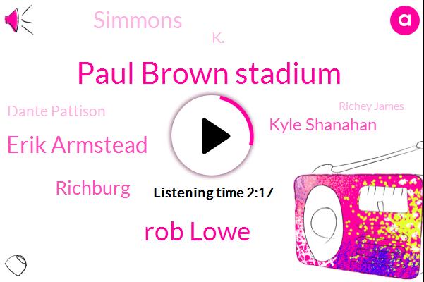 Paul Brown Stadium,Rob Lowe,Erik Armstead,Richburg,Kyle Shanahan,Simmons,K.,Dante Pattison,Richey James,Seventy Five Seconds,Twenty Yard