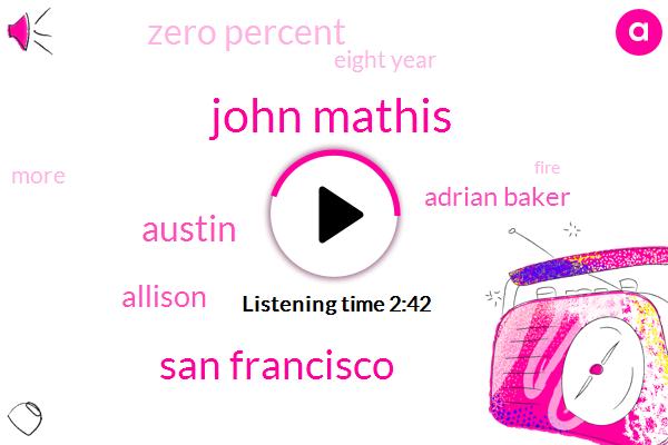John Mathis,San Francisco,Austin,Allison,ABC,Adrian Baker,Zero Percent,Eight Year