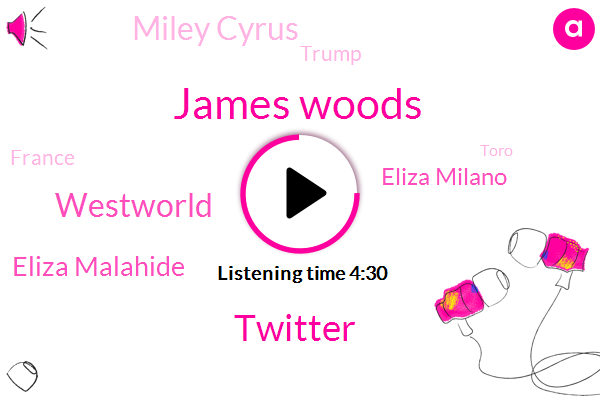 James Woods,Twitter,Westworld,Eliza Malahide,Eliza Milano,Miley Cyrus,Donald Trump,France,Toro,Dakota,California,Vern,Anna,Jamie,Elizabeth Ilana,James,Neil Young,Mr. Maga,Milana
