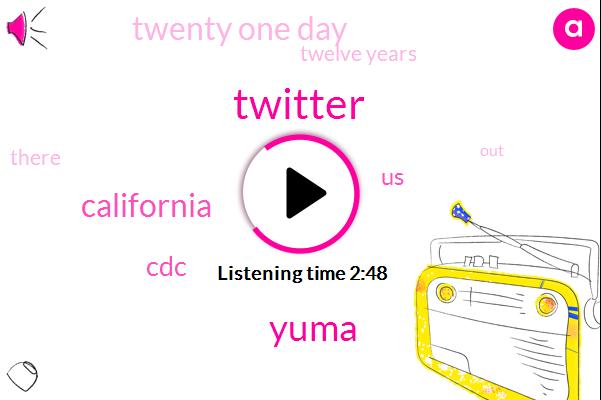 Twitter,Yuma,California,CDC,United States,Twenty One Day,Twelve Years
