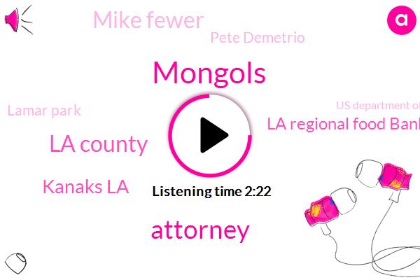 Mongols,Attorney,La County,Kanaks La,La Regional Food Bank,Mike Fewer,Pete Demetrio,Lamar Park,Us Department Of Agriculture,Racketeering,Michael Flood,Los Angeles,KNX,Santana,Consultant,CEO,Six Days