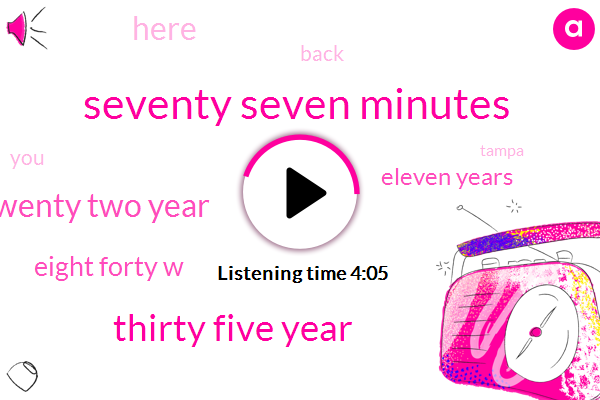 Seventy Seven Minutes,Thirty Five Year,Twenty Two Year,Eight Forty W,Eleven Years