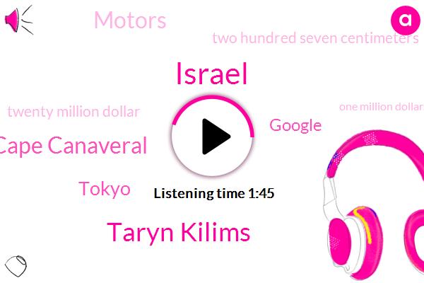 Israel,Taryn Kilims,Cape Canaveral,Tokyo,Google,ABC,Motors,Two Hundred Seven Centimeters,Twenty Million Dollar,One Million Dollars,Two Weeks,Six Foot