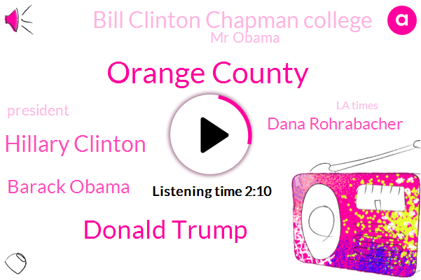 Orange County,Donald Trump,Hillary Clinton,Barack Obama,Dana Rohrabacher,Bill Clinton Chapman College,Mr Obama,President Trump,La Times,Nouri Martinez,Bama,Bob Woodward,La City,Bob Brill,DA,Harley,Professor Fred Smaller,California,KNX