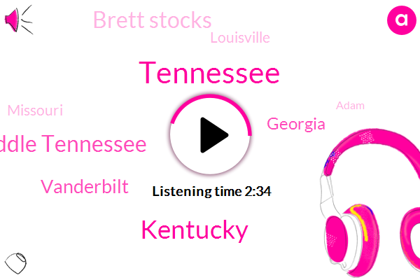 Tennessee,Kentucky,Middle Tennessee,Vanderbilt,Georgia,Brett Stocks,Louisville,Missouri,Adam,Two Yards,Two Hundred Eighty Eight Yards,Two Hundred Ninety Four Yards,Two Hundred Sixty Two Yards,Seventy Seven Yards,Fifty Two Yards,Twelve Years,Four Yards,Six Yards