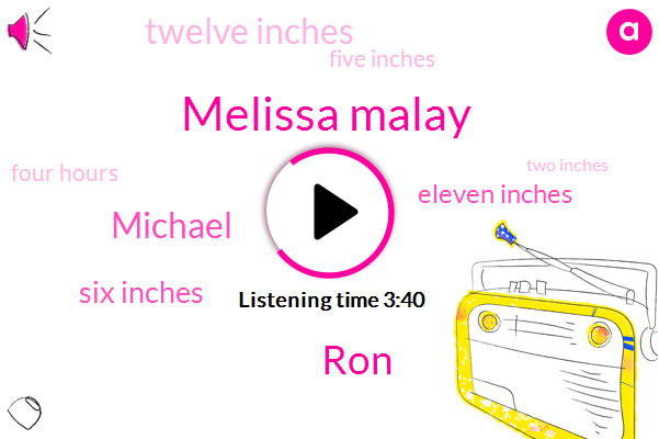 Melissa Malay,RON,Michael,Six Inches,Eleven Inches,Twelve Inches,Five Inches,Four Hours,Two Inches,One Inch,Six Inch