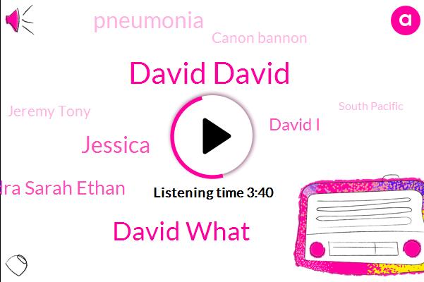 David David,David What,Jessica,Amber Rob Harvey Sandra Sarah Ethan,David I,Pneumonia,Canon Bannon,Jeremy Tony,South Pacific,Tyson