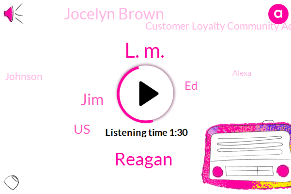 L. M.,Reagan,JIM,United States,ED,Jocelyn Brown,Customer Loyalty Community Advocacy,Johnson,Alexa,Keiser,Matt Heinz,Eleven Years