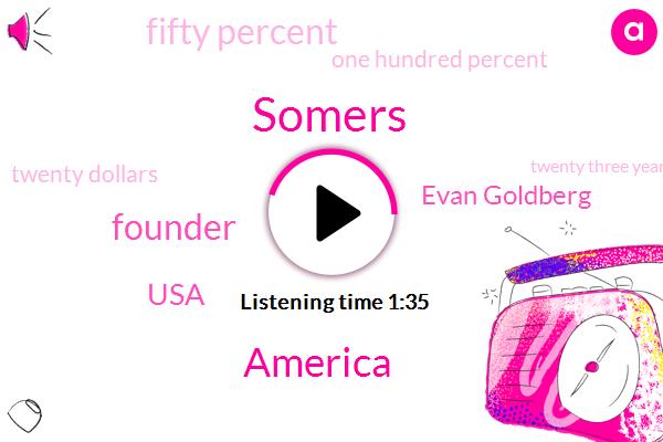 Somers,America,Founder,USA,Evan Goldberg,Fifty Percent,One Hundred Percent,Twenty Dollars,Twenty Three Years