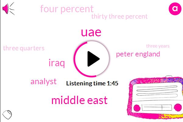 UAE,Middle East,Iraq,Analyst,Peter England,Four Percent,Thirty Three Percent,Three Quarters,Three Years