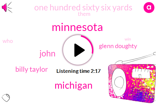 John,Minnesota,Billy Taylor,Michigan,Glenn Doughty,One Hundred Sixty Six Yards
