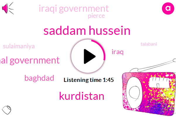 Saddam Hussein,Kurdistan,Kurdish Regional Government,Baghdad,Iraq,Iraqi Government,Pierce,Sulaimaniya,Talabani,Thirty Six Thousand Square Kilometers