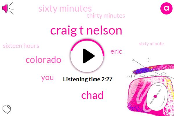 Craig T Nelson,Colorado,Chad,Eric,Sixty Minutes,Thirty Minutes,Sixteen Hours,Sixty Minute,Nine Days