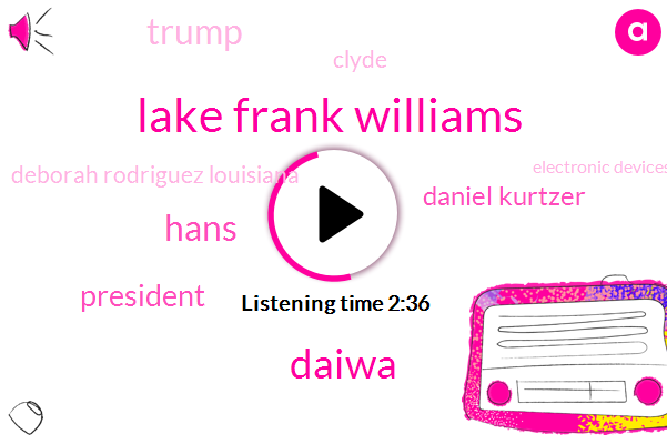 Lake Frank Williams,Daiwa,Hans,President Trump,Daniel Kurtzer,Donald Trump,Clyde,Deborah Rodriguez Louisiana,Electronic Devices,Frank Williams,CBS,United States,Jerusalem,Mr Trump,Secretary Of State,Tom Shutler