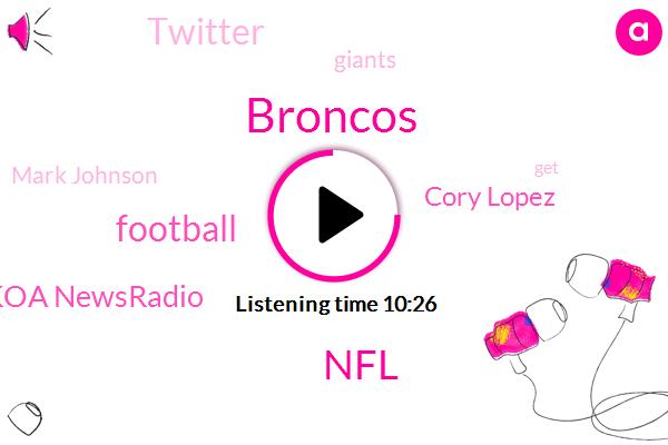 Broncos,NFL,Football,Koa Newsradio,Cory Lopez,Twitter,Giants,Mark Johnson,Espn,Baseball,Rockies,Atlanta,Boulder,Denver Post,Camelback Ranch,Jimmy Garoppolo,Denver,Adam Schefter,Cowboys,Lopes