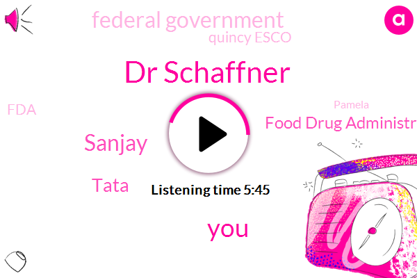 Dr Schaffner,Sanjay,Tata,Food Drug Administration,Federal Government,Quincy Esco,FDA,Pamela