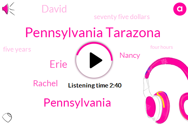 Pennsylvania Tarazona,Pennsylvania,Erie,Rachel,Nancy,David,Seventy Five Dollars,Five Years,Four Hours