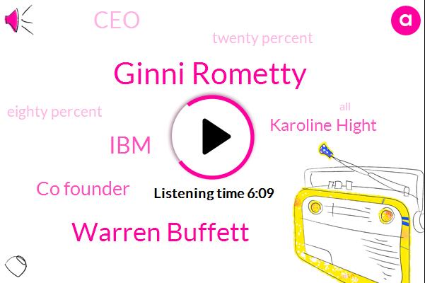 Bloomberg,Ginni Rometty,Warren Buffett,IBM,Co Founder,Karoline Hight,CEO,Twenty Percent,Eighty Percent,One Hand