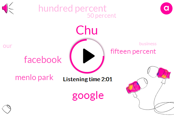CHU,Google,Facebook,Menlo Park,Fifteen Percent,Hundred Percent,50 Percent