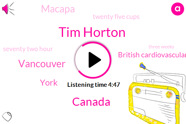 Tim Horton,Canada,Vancouver,York,British Cardiovascular Society,Macapa,Twenty Five Cups,Seventy Two Hour,Three Weeks