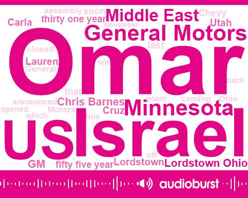 Omar,Israel,United States,General Motors,Minnesota,Middle East,Lordstown Ohio,GM,Chris Barnes,Utah,Lordstown,Cruz,Carla,Lauren,Fifty Five Year,Thirty One Year