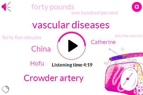 Vascular Diseases,Crowder Artery,China,Hofu,Catherine,Forty Pounds,One Hundred Percent,Forty Five Minutes,Sixty Five Percent,Ninety Percent
