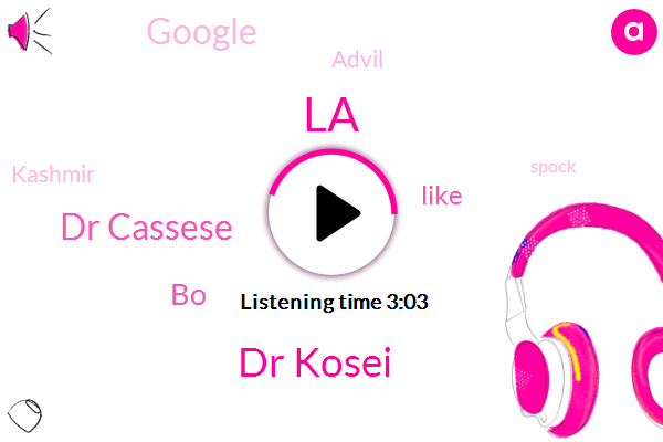 LA,Dr Kosei,Dr Cassese,BO,Google,Advil,Kashmir,Spock,Chloe,Mike Microbe-Related,Brio,Brianna,Croix,Los Angeles,Hundred Years,Twenty Years,One Second,Two Inches
