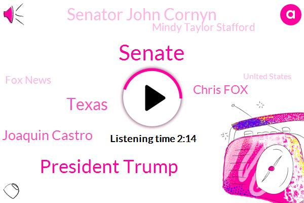 Senate,President Trump,Texas,Congressman Joaquin Castro,Chris Fox,Senator John Cornyn,Mindy Taylor Stafford,Fox News,United States,David Carter,Eric Liken,Anthony Ds,Wedeman,Klbj,UT,Renault,Grande Valley,Representative