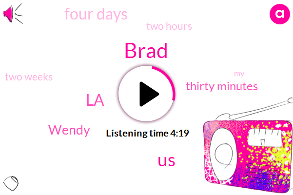 Brad,United States,LA,Wendy,Thirty Minutes,Four Days,Two Hours,Two Weeks