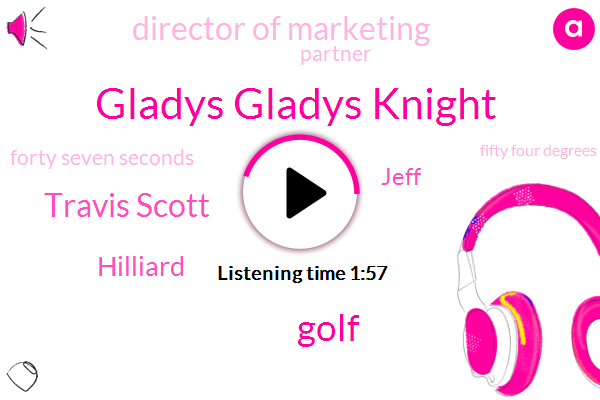Gladys Gladys Knight,Golf,Travis Scott,Hilliard,Jeff,Director Of Marketing,Partner,Forty Seven Seconds,Fifty Four Degrees,Sixty Seconds,One Minute,One Day