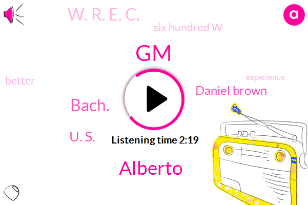 GM,Alberto,Bach.,U. S.,Daniel Brown,W. R. E. C.,Six Hundred W