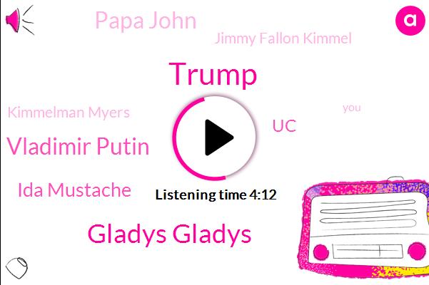 Donald Trump,Gladys Gladys,Vladimir Putin,Ida Mustache,UC,Papa John,Jimmy Fallon Kimmel,Kimmelman Myers,Jack,Apple,Shawn,President Trump,Michael,California,ROB,New York