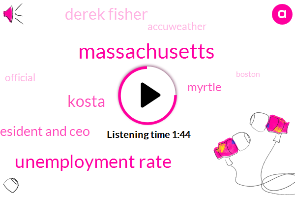 Massachusetts,Unemployment Rate,Kosta,President And Ceo,Myrtle,Derek Fisher,Accuweather,Official,Boston,Secretary,Jim Rooney,Boston Chamber Of Commerce,Health Services,Three Percent,Six Percent,Six Months,Fourday