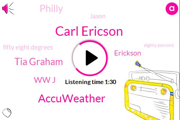 Carl Ericson,Accuweather,Newsradio,Tia Graham,Ww J,Erickson,Philly,Jason,Fifty Eight Degrees,Eighty Percent,Ten Minutes,Two Months