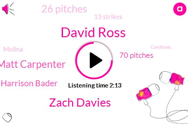 David Ross,Zach Davies,Matt Carpenter,Harrison Bader,70 Pitches,26 Pitches,13 Strikes,Molina,Cardinals,13 Balls,Carpenter,Third Time,Fourth Inning,TWO,32,O Neill,First,ONE,Third