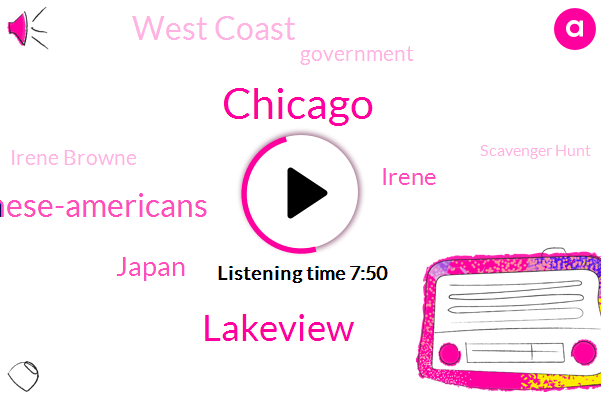 Chicago,Lakeview,Japanese-Americans,Japan,Irene,West Coast,Government,Irene Browne,Scavenger Hunt,United States,Omelette Lake,Intern,Hawaii,Nikkei Lounge,Dominic,Honolulu,Amazon,Bellmont,Monica
