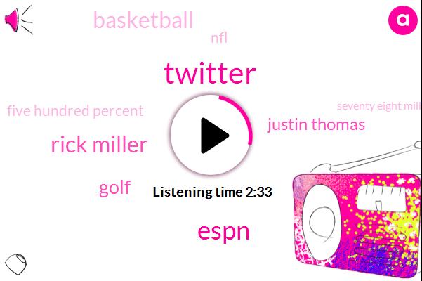 Twitter,Espn,Rick Miller,Golf,Justin Thomas,Basketball,NFL,Five Hundred Percent,Seventy Eight Million Dollars,Two Years,One Day