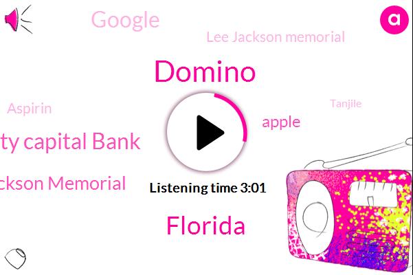 Domino,Florida,Community Capital Bank,Jackson Memorial,Apple,Google,Lee Jackson Memorial,Aspirin,Tanjile,Three Hundred Dollars,Twenty Five Percent,Eighteen Months,Seventy Percent,Eight Weeks