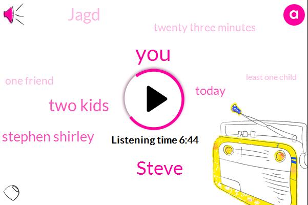 Steve,Two Kids,Stephen Shirley,Today,Jagd,Twenty Three Minutes,One Friend,Least One Child,Stieglitz,ONE
