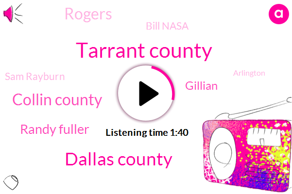 Tarrant County,Dallas County,Collin County,Randy Fuller,Gillian,Rogers,Bill Nasa,Sam Rayburn,Arlington,Julia,Luna,Fort Worth,Frisco,Senator,Randall Mill,Abram,Six Thirty Five Zero J,Fifteen Minutes,Thirty Minutes,Seven Minutes